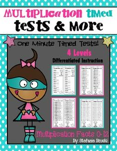 This 90 page resource contains 4 versions or levels of 0-12 Multiplication timed tests and practice worksheets. It includes the traditional math fact timed tests as well as 3 other ways for students to master their Multiplication math facts. This is a great way to differentiate instruction and ensure that students have a mastery of their multiplication math facts.