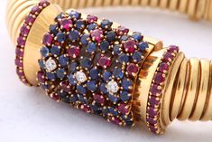 John Rubel Gold, Ruby, Diamond and Sapphire Bracelet Watch with Concealed Dial image 4
