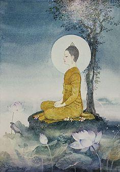 The enlightenment of prince Siddhartha Gotama to become the Buddha, Buddhism. Buddha Life, Buddha Buddhism, Buddhist Art, Enlightenment Art, Budha Art, Buddha Drawing, Buddha Doodle, Art Photography Portrait, Buddha Sculpture