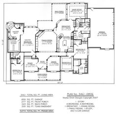1 Story, 4 Bedroom, 4 Bathroom, 1 Dining room, 1 Breakfest Area, 1 Family Room, 1 Study and 3 Car Garage - 3461 SQ Living Area House Plan