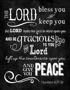 Mounted Scripture Art 11x14 - Numbers 6:24-26 Chalkboard. $28.00, via Etsy.