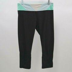 e7653b1b23190 Lululemon Leggings Womens Sz 10 Run Inspire Crop II Black Su14 Quilt 33  Mint #Lululemon