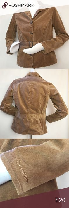 """Columbia River Resort Jacket Columbia River Resort Jacket. Size Small. Color: brown. Four button, belted at waist, two front pockets. Super soft. 98% cotton, 2% cotton. 38"""" bust, 34"""" waist, 24"""" length, 24"""" sleeves. Garment measurements taken laying flat without stretching. Columbia Jackets & Coats"""