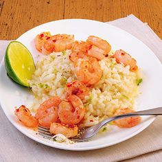 lime risotto with chili shrimps - sounds awesome!