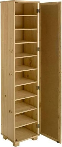 Storage Jewelry Tall Pine Shoe Cabinet with Mirror Door - A tall, slim, solid pine shoe cupboard with a mirrored door.