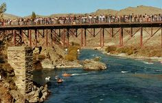 Hanging around under the Cromwell Bridge, watching the final jet boat run up the Clutha River before the Lake Dunstan was formed. Nz South Island, Central Otago, Jet Boat, Where The Heart Is, Middle Earth, Kiwi, Bridges, New Zealand, Family Photos