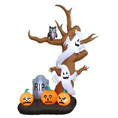 Halloween Inflatable Tree, Ghost, Pumpkin and Tombstone