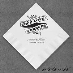 "Chalkboard Napkin True Love Forever Wedding Napkins Personalized True Love Forever is displayed on this vintage-fashioned napkin design.  Dimensions: 4 3/4"" x 4 3/4"" Beverage Napkin Dimensions: 6 1/2"" x 6 1/2"" Luncheon Napkin• Price Includes: Printed napkin • Production Time: 2 Working Days"