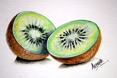 This video shows the painting process of a Kiwi fruit. Artist used different media such as acrylic colors, pencil colors and water colors to accomplish this painting. Watercolor Fruit, Fruit Painting, Paintings Of Fruit, Fruits Drawing, Food Drawing, Life Drawing, Fruit Party, Fruit Snacks, Fruit Recipes