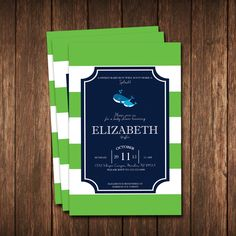 Whale Baby Shower Invitation; blue and green whale invitation by TLCSquared on Etsy https://www.etsy.com/listing/254434772/whale-baby-shower-invitation-blue-and