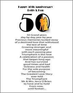 50th Wedding Anniversary Poems Gifts Customized