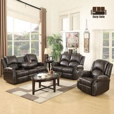 Modern Sofa Gold Thread Sofa Set Loveseat Couch Recliner Leather Living Room Brown