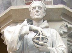 Sculpture of English scientist Roger Bacon holding an armillary sphere, Oxford University Religion, Sculpture, Statue, Roger Bacon, Maps, Oxford, University, English, Blue Prints
