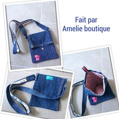 Blue Jean with flap bag, lined with fabric color and blooms, snap closure plastic shoulder strap of Jean. Personalization with coat of arms cat Unique creation Any other models visible on my shop.