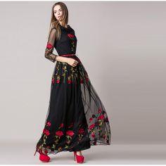 2016 YÜKSEK KALİTE Yeni Moda Pist Maxi Elbise Bayan Long Sleeve tül Vual Gül Nakış Elbise Uzun Elbise