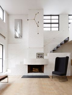 stairs + fireplace