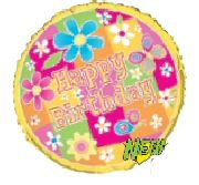 """Foil Balloon 'Happy Birthday'Flowers and Butterfly 18"""". http://www.novelties-direct.co.uk/foil-balloon-happy-birthdayflowers-and-butterfly-18-requires-helium.html"""