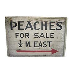 Vintage Painted Peaches Sign via American Garage