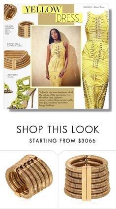 """""""CHEERFUL"""" by larissa-takahassi ❤ liked on Polyvore featuring Balmain, gold, jimmychoo, balmain, yellowdress and energeticcolor"""