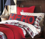 Bedding for Owen's room - Semi-Theme Neutral. It will go with the possible fireman theme, but useable if we want to switch from the firefighter theme.