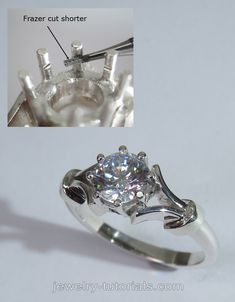 This jewelry lesson shows in detailed pictures how to make this half split shank shank ring with a centre gemstone set in an eight prong collet.  making jewellery, jewelry tutorial, collet making, split shank, how to make rings, setting prongs