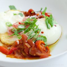 """RECIPE NOT INCLUDED.    """"Gypsy Eggs"""" - farm fresh, perfectly poached eggs on polenta, spicy cappicola, peppers, tomatoes, and scallions – really perfect food for a women's breakfast."""