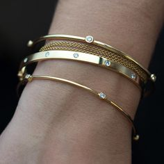 Show us your stacks // Don't forget we're open tomorrow, Saturday, for your last minute shopping needs. Only 2 shopping days left! Diy Jewelry Unique, Diy Jewelry To Sell, Gold Bangle Bracelet, Diamond Bangle, Cartier Bracelet, Golden Jewelry, Silver Jewelry, Silver Ring, Gold Bangles Design