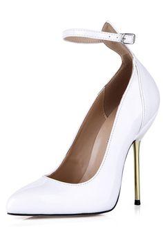 Sapatos de Salto Salto agulha Couro de patente Toe bicudo Fivela