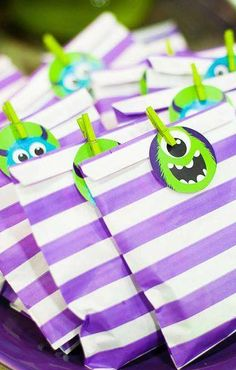 Monster Birthday Party treats! See more party planning ideas at CatchMyParty.com!