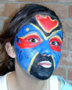 """Tribal - Natural Face Paint Design for Kids. Colors : black, yellow, red, blue. Each organic face paint color (similar to grease paint) come in stackable inter-locking jars for easy portability. Ready to apply, no Powder! No Mess! No need to add water. Long-lasting, VEGAN - LEAD FREE - No micronized minerals - No talc - No Bismuth - No Dyes - No parabens - No carmine - No fragrances - No PetroChemicals - Non-comedogenic Rated as, """"CHAMPION"""" by Campaign for Safe Cosmetics"""