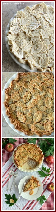 on the Porch and a Harvest of Apple Recipes Apple Pie with pie crust leaf embellishments Apple Recipes, Fall Recipes, Baking Recipes, Holiday Recipes, Pumpkin Recipes, Pie Crust Designs, Delicious Desserts, Yummy Food, Fall Desserts