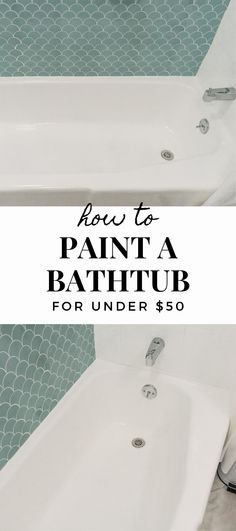 When we bought our house, it came with an outdated pink bathtub. I knew immediately Pink Bathtub, Plastic Bathtub, Pink Tub, Painting Bathroom Tiles, Painting Bathtub, How To Paint Bathtub, Painted Bathrooms, Chic Bathrooms, Small Bathrooms