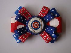 """Cubs inspired loopy bow - 3"""""""