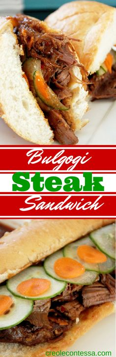 Tried: Korean Bulgogi Steak Sandwich-Creole Contessa >>> this was a disappointing recipe; there was surprisingly little flavor considering all of the ingredients Asian Recipes, Beef Recipes, Cooking Recipes, Slow Cooking, I Love Food, Good Food, Yummy Food, Great Recipes, Dinner Recipes