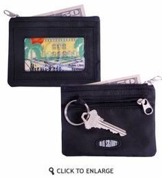 """Big Skinny Moneypenny Coin Wallet. $13.95    Features:        Main zippered pocket holds 10+ plastic cards and cash      Clear ID slot holds more than 3 plastic cards      Zippered outside pocket holds coins      Keychain      Dimensions: 4⅜"""" wide x 3½"""" tall (11 cm x 8.5 cm)"""