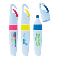 "#55053 | Carabiner Highlighter. Two-Piece highlighter with built in hook. Trim color matches highlighter ink colour. Two-Piece snap cap. Ink Colour: Highlighter matches trim colour. Product Size: 5-3/8""l x 1""h x 5/8""d. Product Colors: White/Blue, White/Pink, White/Yellow. Price Includes: 1-color imprint, 1 location. For details on how to order this item with your logo branded on it contact ww.fivetwentyfour.ca #promoitems  #swag #promoproducts   #promopen #promopens  #highlighter"