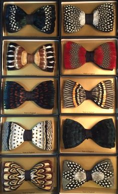 Feather Bow Tie Collection - Handmade unique designs from FeatherGameBirdsUK.Etsy.com - made in the heart of the Cheshire Countryside, UK made from natural pheasant, duck, guinea fowl feathers to name but a few - popular for Country Weddings, Tweed Weddings, Cruises, Proms or any occasion you feel like wearing something hand made and unique to you as no two can be the same…