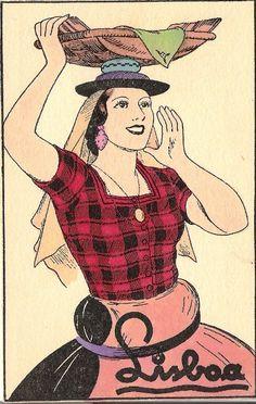 Fishwife of Postcard form the Art Costume, Folk Costume, Costumes, Vintage Advertisements, Vintage Ads, Old Scool, The Big Sleep, Miguel Angel, Vintage Travel Posters