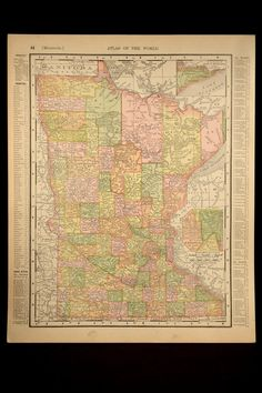 Map Minnesota Early 1900s Original 1906 Detailed