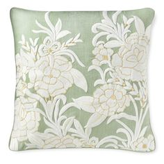 AERIN Jardin Embroidered Pillow Cover, Celadon