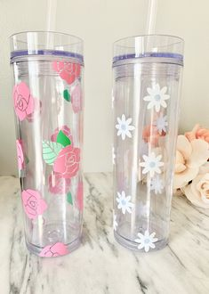 Flower Skinny Tumbler With Lid & Straw Clear Tumblers, Vinyl Tumblers, Acrylic Tumblers, Personalized Bridesmaid Gifts, Personalized Cups, Water Bottles, Drink Bottles, Custom Starbucks Cup, Disney Cups