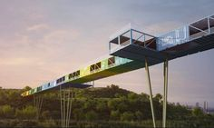 Tel-Aviv based Yoav Messer Architects recently unveiled plans for a sprawling 525-foot-long bridge made from recycled shipping containers! The project won a competition to build a gateway into Ariel Sharon National Park, a park designed to rehabilitate one of the world's largest and most notorious landfills.  If built it will provide access for pedestrians, bicycles and small shuttle buses.