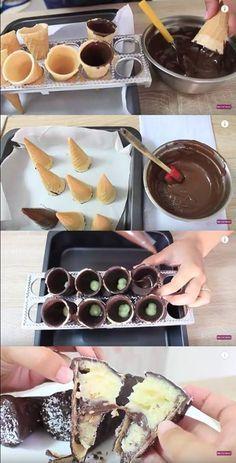 CONE RECHEADO DE PRESTÍGIO #cone #conerecheado #prestígio #chocolate #sobremesas #crianças #doces