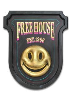 Free House by Ryan Callanan Timber, Gold Leaf on Resin, Hand Painted Text Unique and Signed x x 10 Years Later, Acid House, Home Free, Smiley, Pop Art, Victorian, Hand Painted, Signs, Abstract