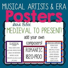 This is a downloadable zip file consisting of 28 PDF and 28 JPG images. Download the preview file to see all posters included in the pack. Images in the preview may appear blurry due to size constraints, but are in HD within the download file.Included are the following musical periods filled in with composers (Thumbail #3), as well as a blank copy which you can edit in your own word processor (Thumbnail #4).