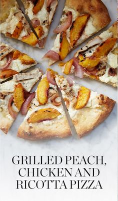 Peaches are in season right now, so grab some from the market and make a few of these simple grilled peach, chicken and ricotta pizzas. — via @PureWow