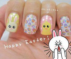 Manucure petits lapins et poussins #manucure #nailart #lapins #poussins #pastel #printemps #Pâques