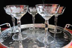 Etched Vintage Crystal Stemware Glasses Set by SaltwaterVillage