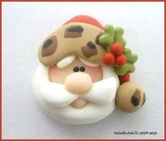Polymer Clay Bead or Bow Center Leopard Santa