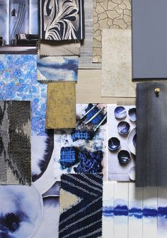 Indigo and Gold - a timeless elegant colour combination illustrated on this mood board by our designers. Perfect for that London town house or Parisian Apartment. Snorkel Blue, Check Fabric, Hotel Interiors, Japanese Design, Color Combos, Home Furnishings, Blue Bedrooms, Fabric Books, Design Boards